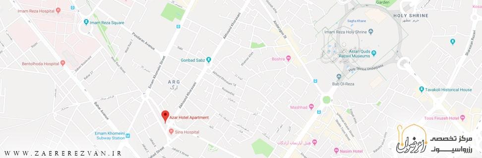 H A Azar map min - هتل آپارتمان آذر