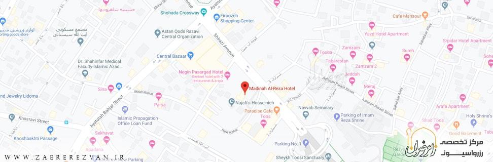 Madinah Al Reza Hotel map min - هتل مدینه الرضا (ع)