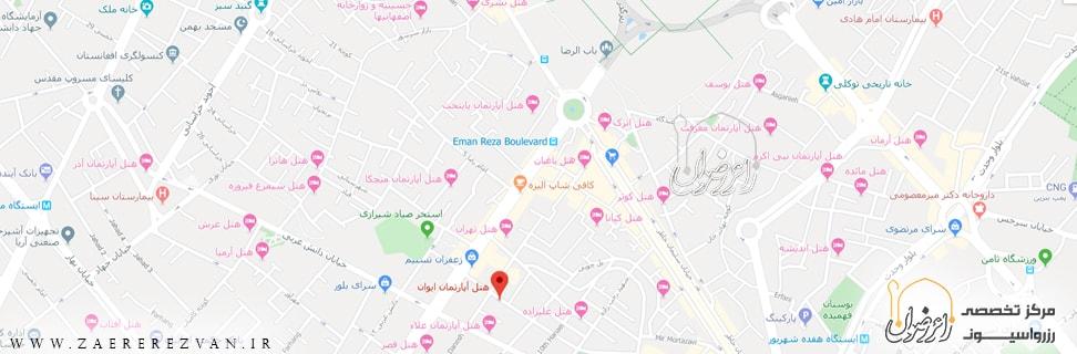 H A Eyvan map min - هتل آپارتمان ایوان مشهد